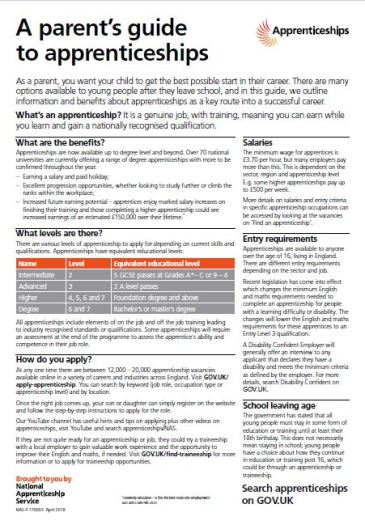 parents guide to apprenticships